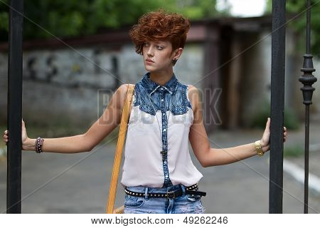 Teen Hipster Girl Posing Outdoors