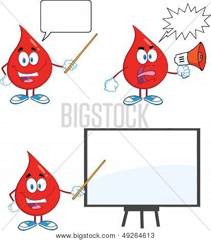 Blood Drop Cartoon Characters. Set Collection 3