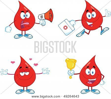 Blood Drop Cartoon Characters. Set Collection 6.