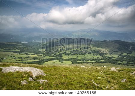 View From Cadair Idris Mountain North Over Countryside Landscape