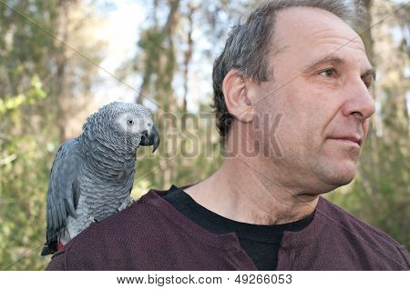 Man With Parrot .
