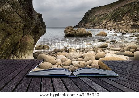 Creative Concept Pages Of Book Beautiful Landscape Of Porth Nanven Beach Cornwall England