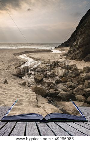 Creative Concept Pages Of Book Porthcurno Yellow Sand Beach Before Sunset Cornwall England