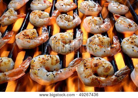 Shrimp on Grill Over Open Flames