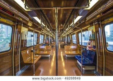 TAIPEI, TAIWAN - JANUARY 16: Interior of a train on the Xinbeitou Branch Line January 16, 2013 in Taipei, TW. The traditionally styled train interior reflects the hot springs culture of Beitou.