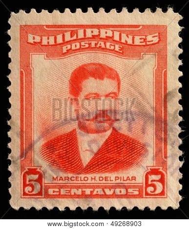 PHILIPPINES - CIRCA 1952: A stamp printed in Philippines shows Marcelo H.Del Pilar, circa 1952