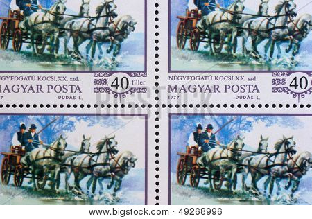 HUNGARY - CIRCA 1977: stamp printed by Hungary, shows World champion Imre Abonyi, driving four-in-hand, circa 1977
