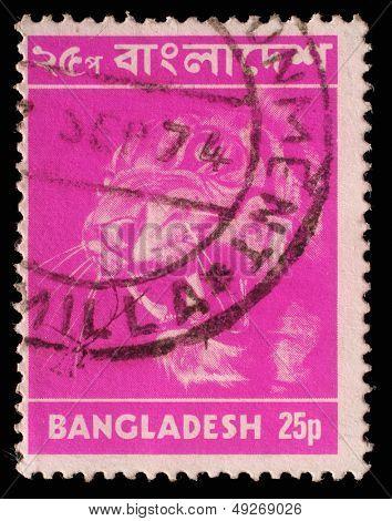 BANGLADESH - CIRCA 1973: Postage stamps printed in Bangladesh, shows a tiger (Panthera tigris), circa 1973