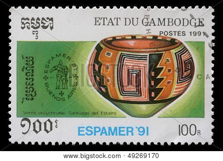 CAMBODIA - CIRCA 1991: stamp printed by Cambodia shows Pre-Columbian artefacts, circa 1991