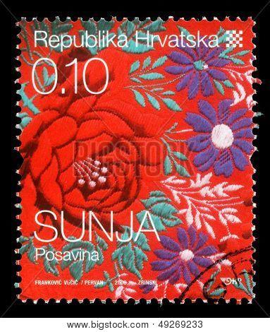 CROATIA - CIRCA 2008: stamp printed by Croatia dedicated to town Sunja, a series of Croatian Ethnographic Heritage, circa 2008