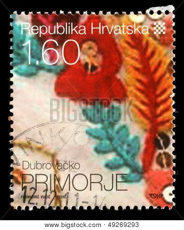 CROATIA - CIRCA 2010: stamp printed by Croatia dedicated to Dubrova���ko Primorje, a series of Croatian Ethnographic Heritage, circa 2010