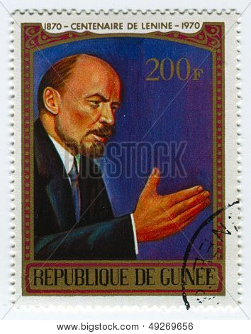 GUINEA-CIRCA 1970:A stamp printed in Guinea shows image of the Vladimir Ilyich Lenin; born Vladimir Ilyich Ulyanov, was a Russian communist revolutionary,politician and political theorist,circa 1970.
