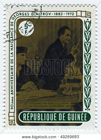 GUINEA - CIRCA 1972: A stamp printed in Guinea shows image of the Georgi Dimitrov Mikhaylov, also known as Georgi Mikhaylovich Dimitrov  was a Bulgarian Communist politician, circa 1972.