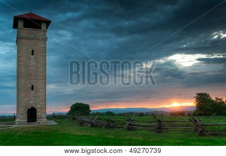 Antietam National Battlefield Observation Tower Sunrise