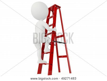 3D Humanoid Character Up A Red Ladder