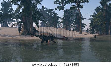 gigantoraptor on shore