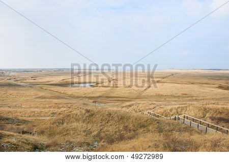Nature landscape with the Slufter at wadden island Texel