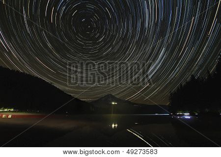 Star Trails Over Mount Hood At Trillium Lake