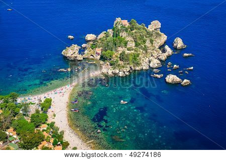 Aerial View Of Isola Bella Beach In Taormina, Sicily