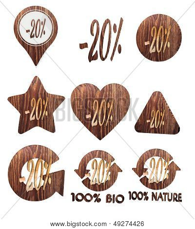 3D Graphic Of A Isolated Discount Icon Set Of Wooden 3D Buttons