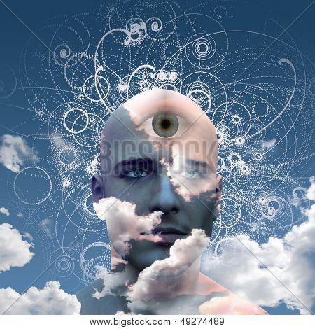Eye on cloud mans head