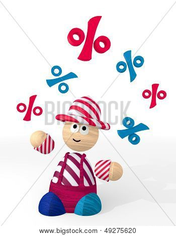 Illustration Of A Happy Percent Icon Juggled By A Clown