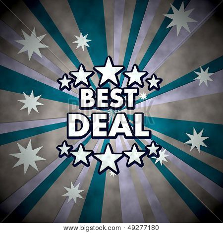 3D Graphic Of A Dirty Best Deal Label  On Retro Star Background