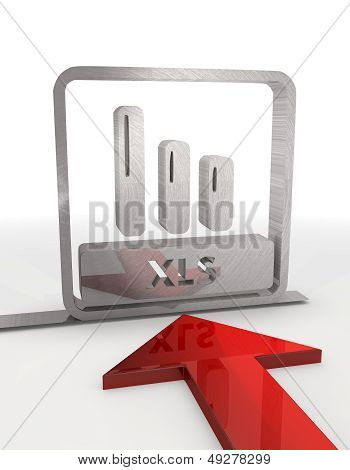 3D Graphic Of A Metallic Xls Label With Red Arrow