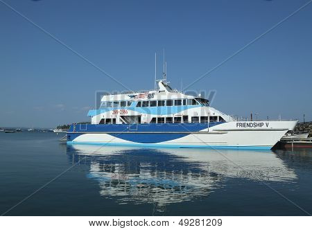 Whale watching boat in historic Bar Harbor, Maine