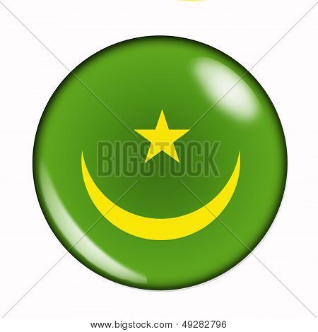Button Flag Of Mauritania