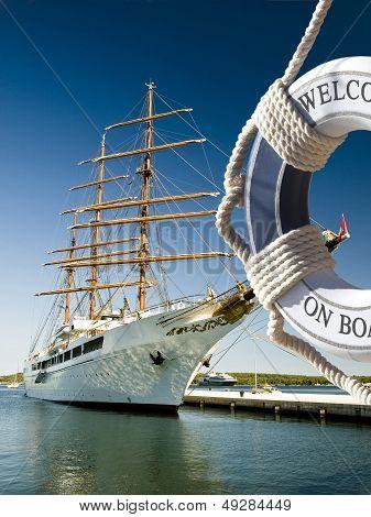 Sailing Ship with Life Preserver