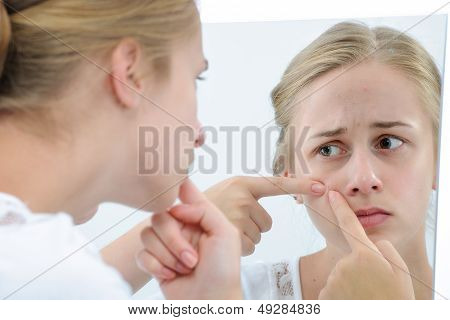 Teenage Girl With Mirror