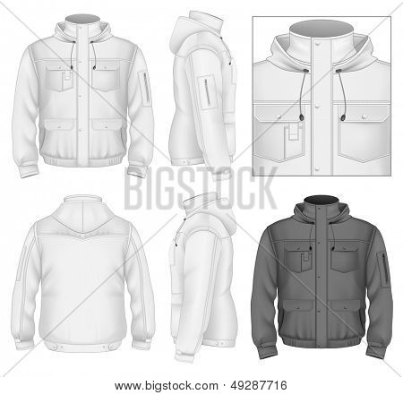 Photo-realistic vector illustration. Men's flight jacket with hood design template (front view, back and side views). Illustration contains gradient mesh.