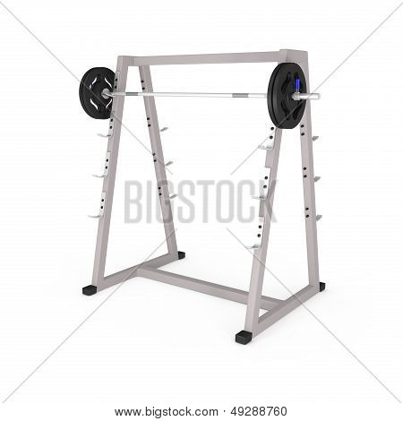 Bodybuilding Equipment In Gym Isolated On White