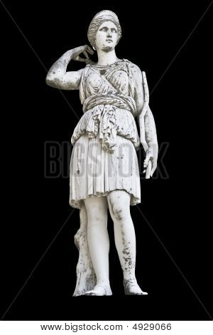 Statue on black background showing Goddess Athena