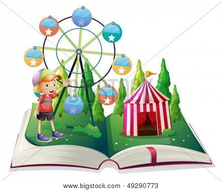 Illustration of an open storybook with a carnival and a young boy on a white background