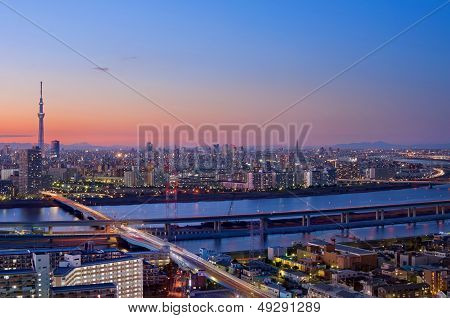 Sunset Colors Over Tokyo