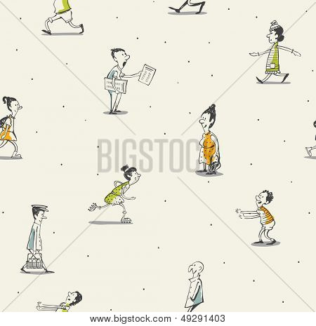 People seamless pattern- drawing