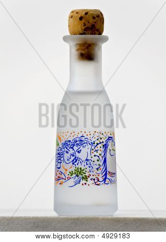A greek traditional handmade bottle of ouzo drink