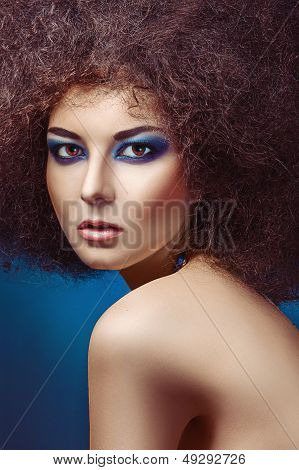 fashion woman with fluffy hair style