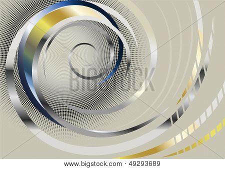 Silver spiral stripes on light background