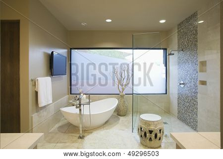 Modern bathroom with freestanding bath at home
