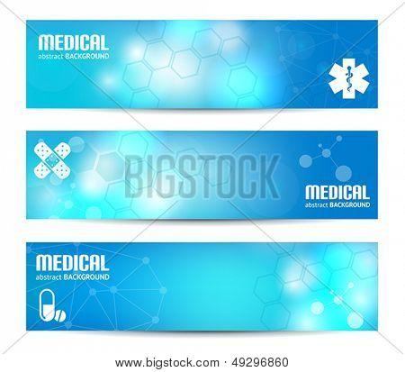 Three banners suitable for medical topics
