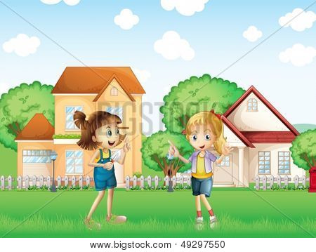 Illustration of the two young ladies playing in the ground in front of the houses