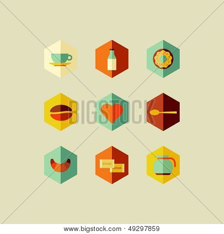 Coffee Elements Flat Icons