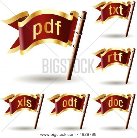 Document File Type Icons On Royal Flag Buttons