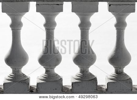 Classical Balusters Fragment Above White Background
