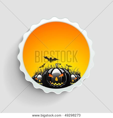 Tag, sticker or label design with scary Halloween pumpkins and bats.