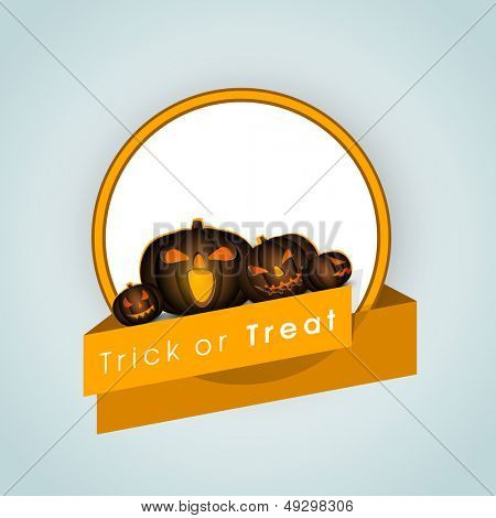 Halloween pumpkin with yellow ribbon on blue background, Can be use as sticker, tag or label for Trick or Treat Halloween Party.