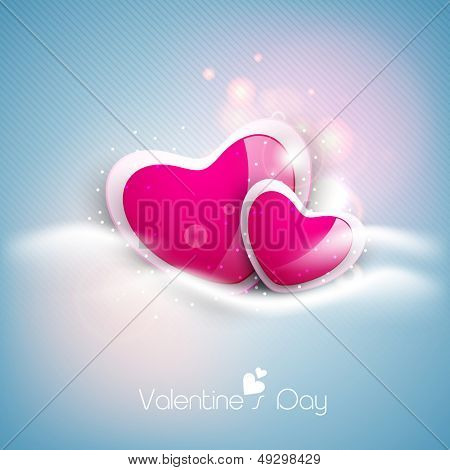Glossy pink hearts on shiny blue background for Valentines Day.